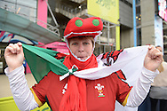 a Wales fan looks on outside Twickenham Stadium before k/o. Rugby World Cup 2015 quarter final match, South Africa v Wales at Twickenham Stadium in London, England  on Saturday 17th October 2015.<br /> pic by  John Patrick Fletcher, Andrew Orchard sports photography.