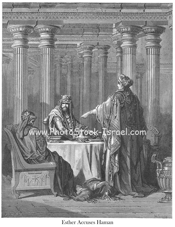 Esther Accusing Haman [Esther 7:5-6] From the book 'Bible Gallery' Illustrated by Gustave Dore with Memoir of Dore and Descriptive Letter-press by Talbot W. Chambers D.D. Published by Cassell & Company Limited in London and simultaneously by Mame in Tours, France in 1866