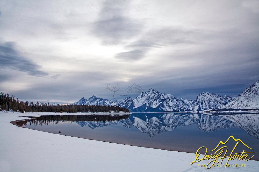 """Winter Reflection, Coulter Bay. I love the time of year right before the lakes freeze up when I'm lucky enough to be there after a storm.<br /> <br /> For production prints or stock photos click the Purchase Print/License Photo Button in upper Right; for Fine Art """"Custom Prints"""" contact Daryl - 208-709-3250 or dh@greater-yellowstone.com"""