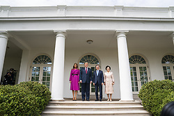 US President Donald J. Trump (C-L) and First Lady Melania Trump (L) welcome Korean President Moon Jae-in (C-R) and Mrs. Kim Jung-sook (R) to the Colonnade of the White House in Washington, DC, USA, 11 April 2019. President Moon is expected to ask President Trump to reduce sanctions on North Korea in an attempt to jump start nuclear negotiations between North Korea and the US.