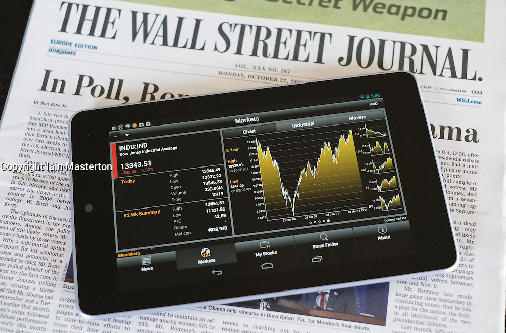 Google Nexus 7 tablet computer with financial app and business newspapers
