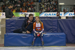 March 9, 2019 - Salt Lake City, Utah, USA - Esmee Visser of the Netherlands talks with a coach after competing in the ladies 3000m speed skating finals at the ISU World Cup at the Olympic Oval in Salt Lake City, Utah. (Credit Image: © Natalie Behring/ZUMA Wire)