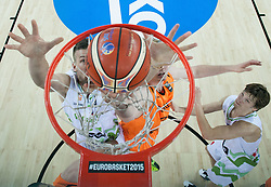 Alen Omic of Slovenia vs Robin Smeulders of Netherlands during basketball match between Slovenia vs Netherlands at Day 4 in Group C of FIBA Europe Eurobasket 2015, on September 8, 2015, in Arena Zagreb, Croatia. Photo by Vid Ponikvar / Sportida
