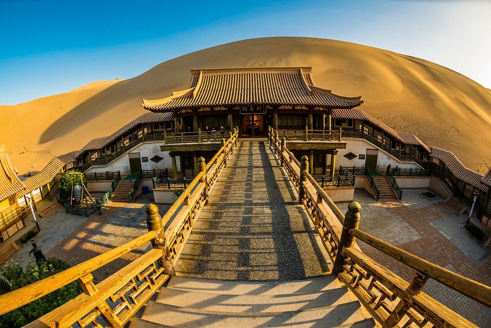 Pavilion in the oasis at Crescent Lake (Yueyaquan), 6 km south of the city of Dunhuang in Gansu Province, China
