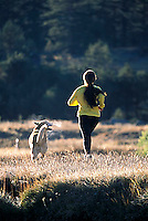 Heather Harrison running along the West Fork of the Carson River in in Hope Valley, CA.<br />