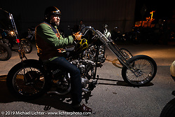 Scott Hoepker at the industry party at Bill Dodge's Blings Cycles shop during Daytona Bike Week. Daytona Beach, FL. USA. Wednesday March 14, 2018. Photography ©2018 Michael Lichter.