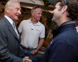 Tom Burnham (USA) is shaking hands with Buzz Aldrin. Buzz Aldrin (born January 20, 1930) is an American mechanical engineer, retired United States Air Force pilot and astronaut who was the Lunar Module pilot on Apollo 11, the first manned lunar landing in history. On July 20, 1969, he was the second person to set foot on the Moon, following mission commander Neil Armstrong. Auckland, New Zealand, March 12th 2010. Louis Vuitton Trophy  Auckland (8-21 March 2010) © Sander van der Borch / Artemis