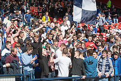 Falkirk's fans before the game.. <br /> Hibernian 0 v 1 Falkirk, William Hill Scottish Cup semi-final, played 18/4/2015 at Hamden Park, Glasgow.