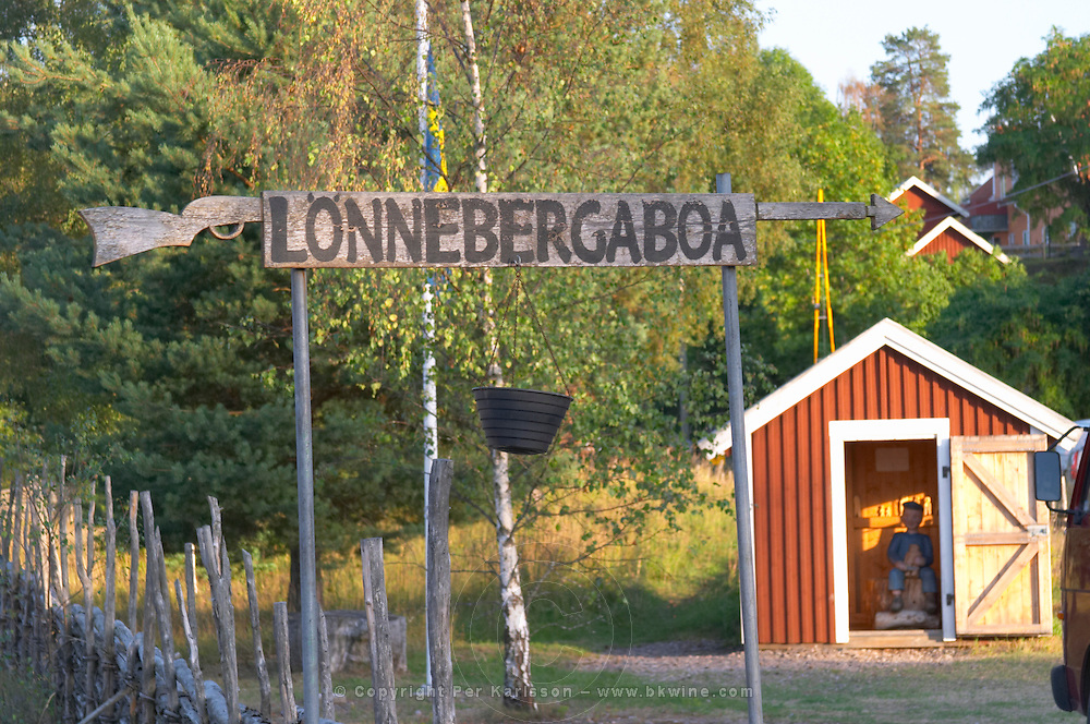 Lonneberga, a small, rural, Swedish village made famous by Astrid Lindgren's story of Emil in Lönneberga. Astrid Lindgren's mischievous Emil sitting in the carpentry hut carving wood figurines as a penance. Lonneberga Smaland region. Sweden, Europe.