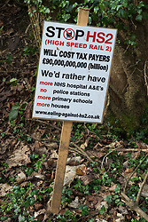 An anti-HS2 sign is pictured on 20th February 2021 in Wendover, United Kingdom. Activists opposed to HS2 continue to occupy the nearby Wendover Active Resistance Camp.