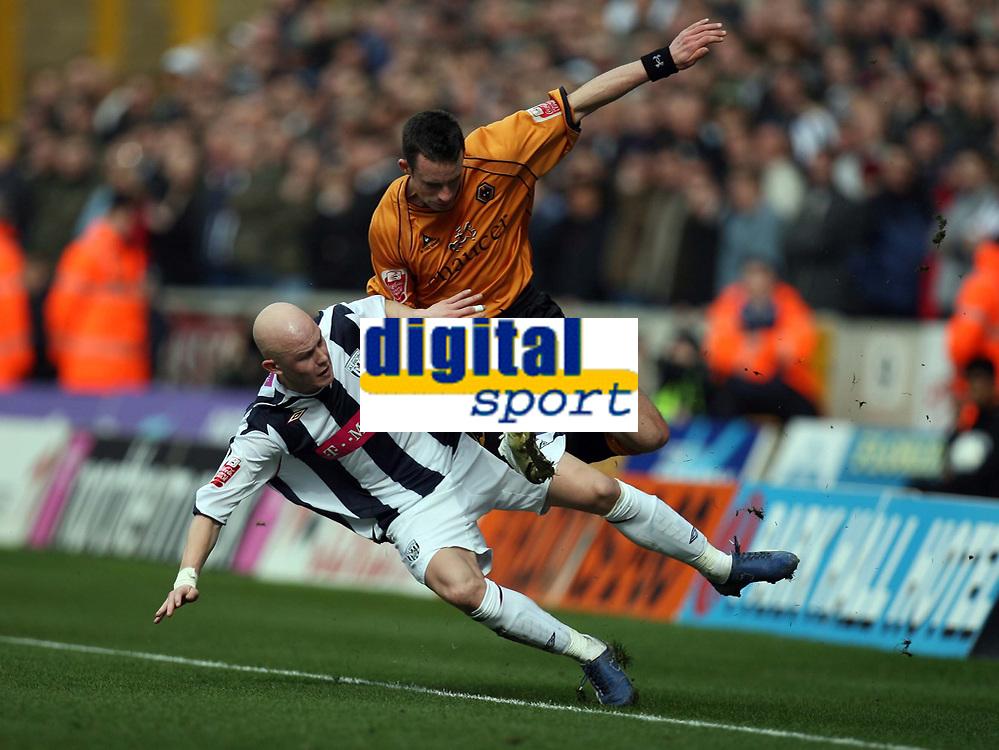 Photo: Rich Eaton.<br /> <br /> Wolverhampton Wanderers v West Bromwich Albion. Coca Cola Championship. 11/03/2007. Richard Chaplow left of West Brom tackles Wolves player Michael McIndoe