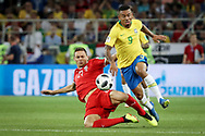 Nemanja Matic of Serbia tackles Gabriel Jesus of Brazil during the 2018 FIFA World Cup Russia, Group E football match between Erbia and Brazil on June 27, 2018 at Spartak Stadium in Moscow, Russia - Photo Thiago Bernardes / FramePhoto / ProSportsImages / DPPI