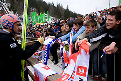 Andreas Kofler of Austria and Slovenian fans during Flying Hill Individual Qualifications at 1st day of FIS Ski Flying World Championships Planica 2010, on March 18, 2010, Planica, Slovenia.  (Photo by Vid Ponikvar / Sportida)