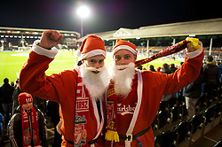 05.12.2011, Craven Cottage Stadion, London, ENG, PL, FC Fulham vs FC Liverpool, 14. Spieltag, im Bild Liverpool supporters dressed as Father Christmas in the away end before the football match of English premier league, 14th round, between FC Fulham and FC Liverpool at Craven Cottage Stadium, London, United Kingdom on 05/12/2011. EXPA Pictures © 2011, PhotoCredit: EXPA/ Sportida/ David Rawcliff..***** ATTENTION - OUT OF ENG, GBR, UK *****