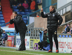 Bristol City manager, Steve Cotterill and Oldham Athletic Manager, Dean Holden - Photo mandatory by-line: Dougie Allward/JMP - Mobile: 07966 386802 - 03/04/2015 - SPORT - Football - Oldham - Boundary Park - Bristol City v Oldham Athletic - Sky Bet League One