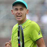 2017 U.S. Open Tennis Tournament - DAY TWO. Alex de Minaurof Australia in action against Dominic Thiem of Austria during the Men's Singles round one match at the US Open Tennis Tournament at the USTA Billie Jean King National Tennis Center on August 29, 2017 in Flushing, Queens, New York City. (Photo by Tim Clayton/Corbis via Getty Images)