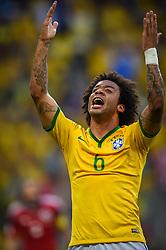 Marcelo na partida entre Brasil x Colombia, válida pelas quartas de final da Copa do Mundo 2014, no Estádio Castelão, em Fortaleza-CE. FOTO: Jefferson Bernardes/ Agência Preview