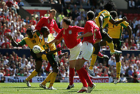 Photo: Paul Thomas.<br /> England v Jamaica. International Friendly. 03/06/2006.<br /> <br /> Peter Crouch (9 Red) of England scores.