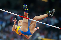 London, August 10 2017 . Erika Kinsey, Sweden, in the Women's high jump qualifying on day seven of the IAAF London 2017 world Championships at the London Stadium. © Paul Davey.
