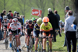 Lisa Brennauer well positioned as they approach the top of Paterberg at Dwars door Vlaanderen 2017. A 114 km road race on March 22nd 2017, from Tielt to Waregem, Belgium. (Photo by Sean Robinson/Velofocus)