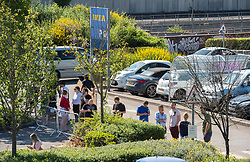 © Licensed to London News Pictures;01/06/2020; Bristol, UK. People queue through the car park to enter the Ikea store at Bristol Eastgate which opened at 10am after being shut during the Covid-19 coronavirus lockdown. Many Ikea stores are opening across the UK as some more restrictions under the coronavirus lockdown have been eased by the UK Government. From Monday 01 June groups of up to 6 people from different households will be able to meet outside but must maintain social distancing to prevent the spread of the Covid-19 virus, and car showrooms and open air markets can also open. Photo credit: Simon Chapman/LNP.