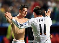 Schlussjubel v.l. Cristiano Ronaldo, Gareth Bale (Real)<br /> Fotball ,  Champions League Finale 2014, Real Madrid - Atletico Madrid<br /> Norway only<br /> 24. mai 2014