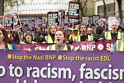 © under license to London News Pictures. 06/11/10. Unite Against Fascism (UAF) and supporters march through London to Parliament to show their opposition to racism, fascism and Islamophobia.