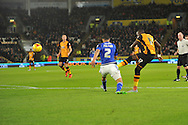 Hull City midfielder Mohammed Diame (17) takes ashot at goal during the Sky Bet Championship match between Hull City and Cardiff City at the KC Stadium, Kingston upon Hull, England on 13 January 2016. Photo by Ian Lyall.