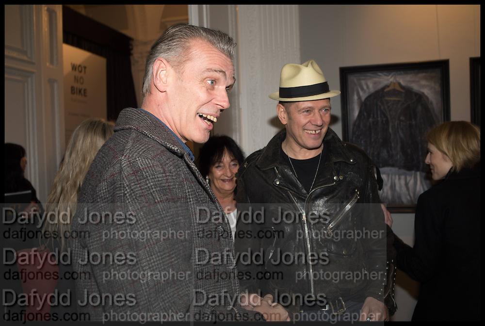 PAUL SIMONON AND HIS BROTHER ( LEFT ), Private view, Paul Simonon- Wot no Bike, ICA Nash and Brandon Rooms, London. 20 January 2015