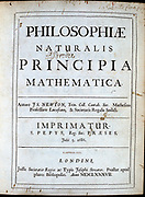 Isaac Newton (1642-1727) English scientist and mathematician. Title page of his 'Philosophiae Naturalis Principia Mathematica' London 1687.