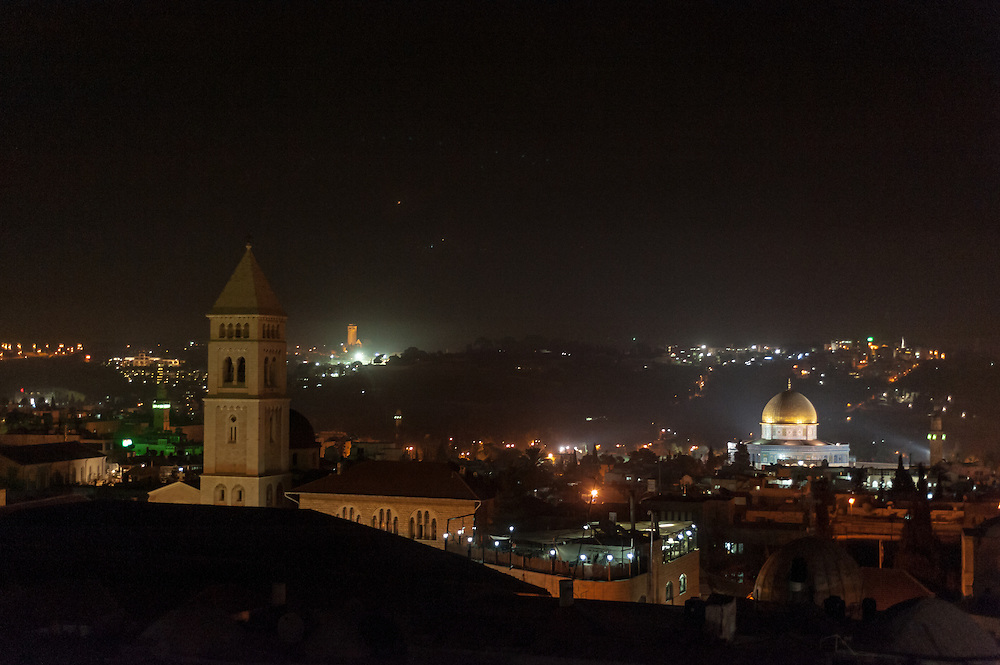 Jerusalem at night, viewed from a rooftop near the Jaffa Gate