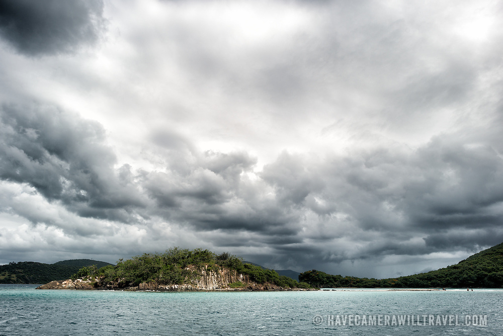 Rain clouds build over St John in the US Virgin Islands.