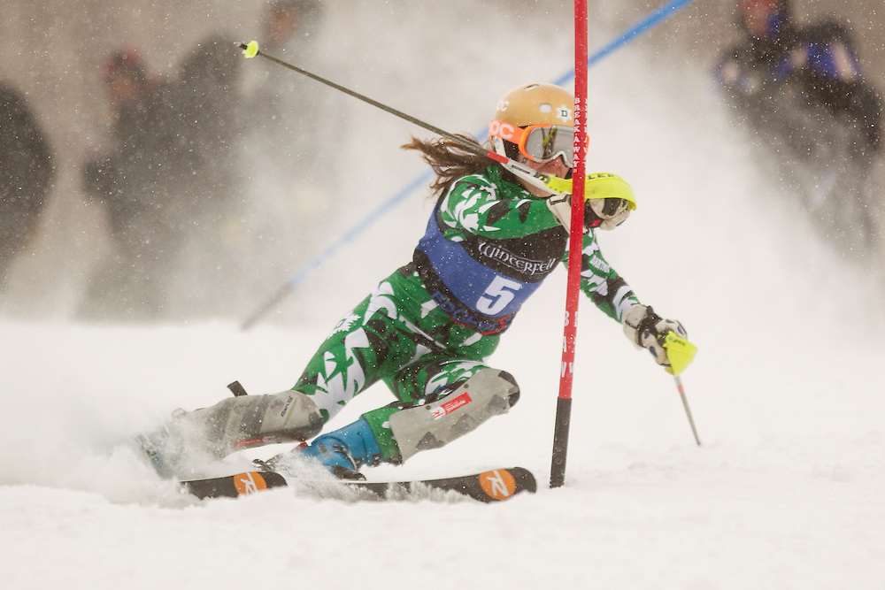 Sara Kikut of Dartmouth College, skis during the first  run of the women's slalom at the University of New Hampshire Carnival at Cannon Mountain on January 25, 2014 in Franconia, NH. (Dustin Satloff/EISA)