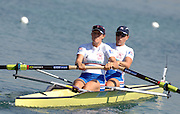 Munich, GERMANY,  GBR W2-, Bow Beth RODFORD and Natasha PAGE,  Sunday 26.08.2007, opening day on the  Munich Olympic Regatta Course, venue for 2007 World Rowing Championship, Bavaria. [Mandatory Credit. Peter Spurrier/Intersport Images]..... , Rowing Course, Olympic Regatta Rowing Course, Munich, GERMANY