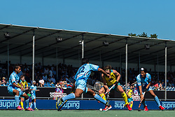 (L-R) Varun Kumar of India, Flynn Ogilvie of Australia, Dilpreet Singh of India during the Champions Trophy finale between the Australia and India on the fields of BH&BC Breda on Juli 1, 2018 in Breda, the Netherlands.