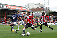 Brentford 's  Lasse Vibe © takes a shot at goal. EFL Skybet football league championship match, Brentford  v Nottingham Forest at Griffin Park in London on Saturday 12th August 2017.<br /> pic by Steffan Bowen, Andrew Orchard sports photography.