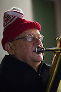 Tony Jennetti of Sunnyvale plays the tuba with the Milpitas Community Concert Band during the Milpitas Christmas Tree Lighting Ceremony at Milpitas City Hall, in Milpitas, California, on December 1, 2013. (Stan Olszewski/SOSKIphoto)