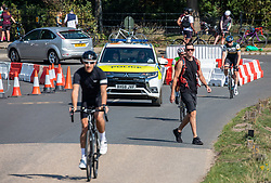 """© Licensed to London News Pictures. 13/09/2020. London, UK. Police patrol Richmond Park in South West London as cyclists and picnickers flock to the Park in South West London this afternoon to enjoy the warm sunshine a day before the """"Rule of 6"""" comes into force on Monday as weather experts announce a 5 day mini-heatwave in the South East of England with highs of 29c. Prime Minister Boris Johnson announced on Friday that gatherings of more than six people will be banned from Monday (tomorrow) in the hope of reducing the coronavirus R number. The Rule of Six as it is known, has already become unpopular with MPs and large families for being too strict. Photo credit: Alex Lentati/LNP"""