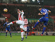 Leonardo Ulloa of Leicester City heads a goal back during the English Premier League match at the Bet 365 Stadium, Stoke on Trent. Picture date: December 17th, 2016. Pic Simon Bellis/Sportimage