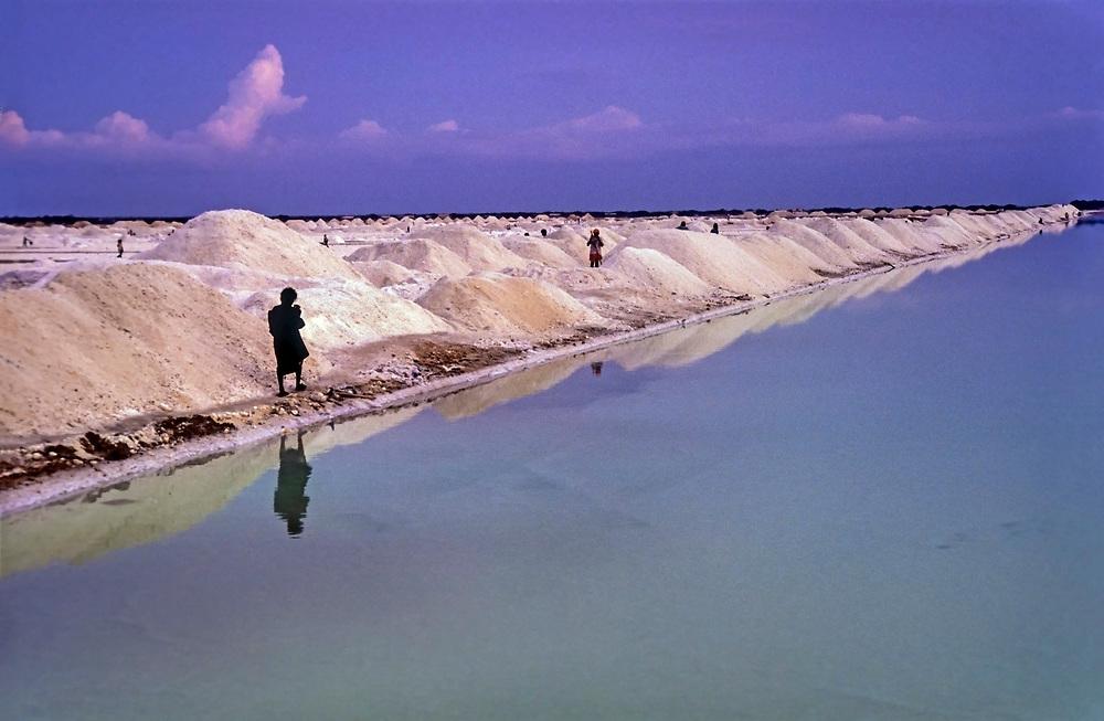 Salt miners shovel salt into piles, Manaure, La Guajira, Colombia