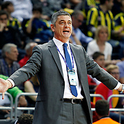 Anadolu Efes's coach Oktay Mahmuti during their Turkish Basketball league derby match Fenerbahce Ulker between Anadolu Efes at the Ulker Sports Arena in Istanbul, Turkey, Monday, April 29, 2013. Photo by Aykut AKICI/TURKPIX