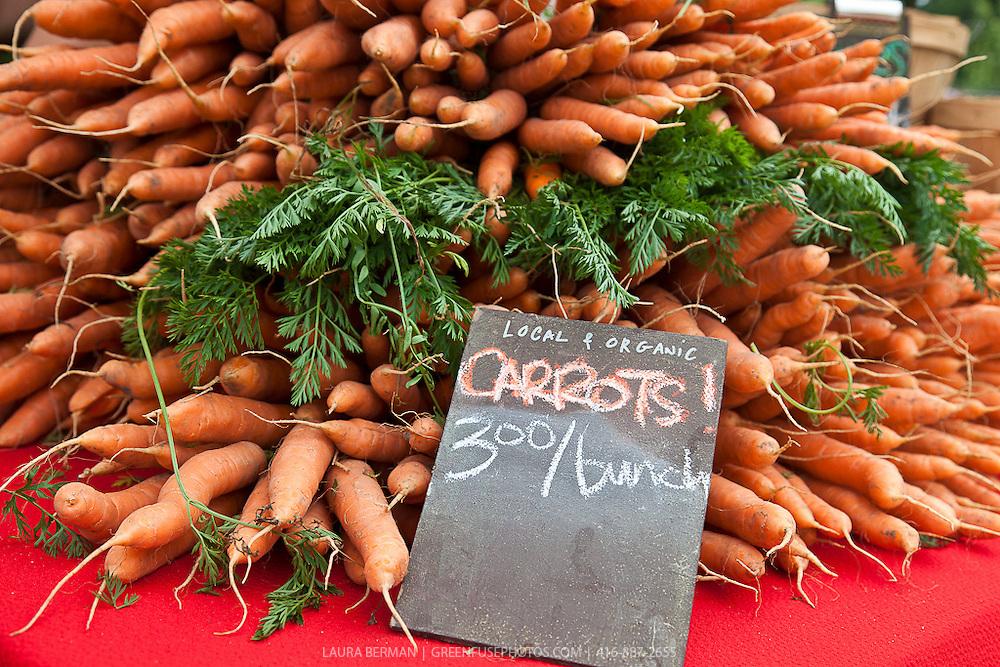 Everdale farm's local organic carrots at a farmers market