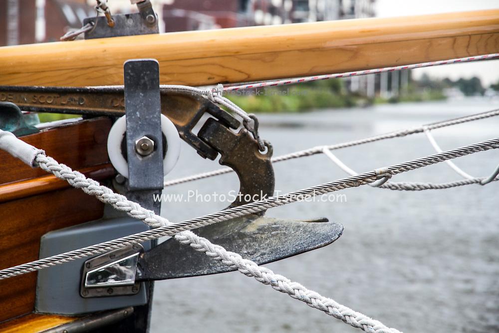 Boating concept Anchor and mooring ropes closeup