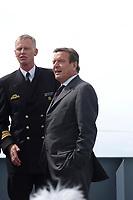 09 AUG 2001, BERLIN/GERMANY:<br /> Gerhard Schroeder, SPD, Bundeskanzler, waehrend einem Besuch von Marineeinheiten im Seegebiet vor Rostock<br /> IMAGE: 20010809-01-024<br /> KEYWORDS: Bundeswehr, Bundesmarine, Marine, Gerhard Schröder