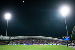 View on the stadium with fans of NK Maribor and on the top moon shining during Play-offs for Champions League between NK Maribor (Slovenia) and GNK Dinamo Zagreb (Croatia), on August 28, 2012, in Maribor, Slovenia. (Photo by Matic Klansek Velej / Sportida.com)