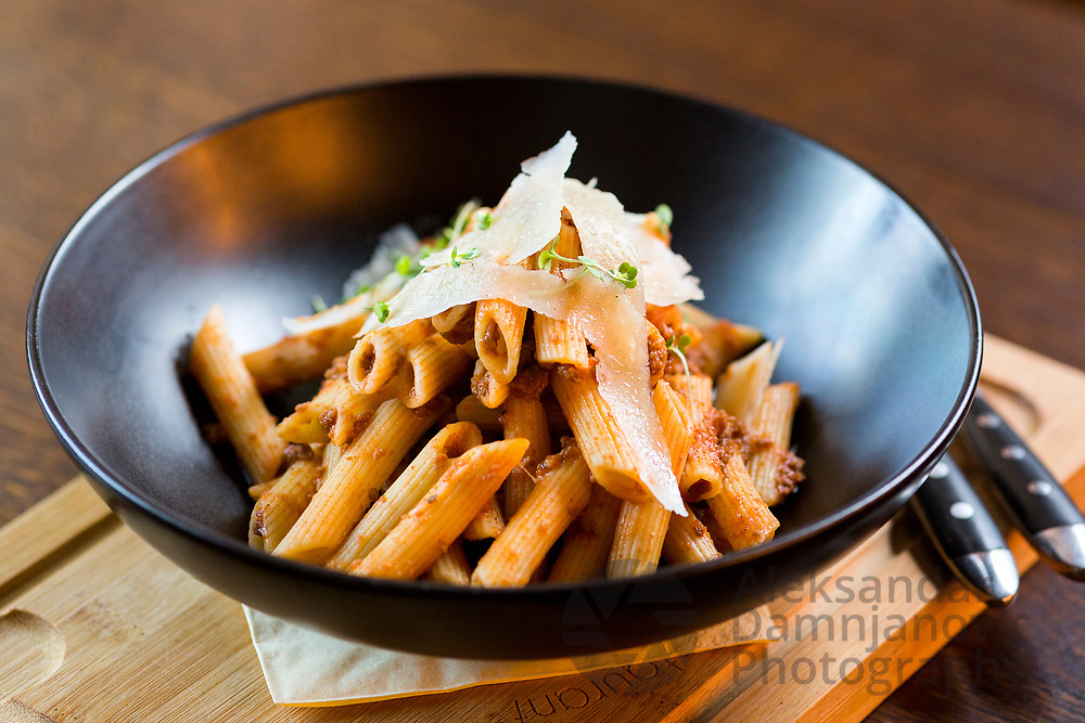 Pasta on the restaurant menu.<br /> Professional food photography for Hotels, restaurants, and cafes. Food photography for advertising in print, television, or digital.
