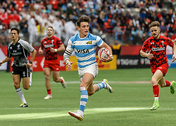 March 10, 2018 - Vancouver, British Columbia, U.S. - VANCOUVER, BC - MARCH 10: Luciano Gonzalez (#11) of Argentina scores during  Game # 14- Argentina vs Wales Pool B match at the Canada Sevens held March 10-11, 2018 in BC Place Stadium in Vancouver, BC. (Photo by Allan Hamilton/Icon Sportswire) (Credit Image: © Allan Hamilton/Icon SMI via ZUMA Press)
