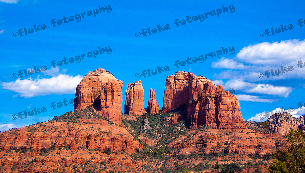 """Cathedral Rock, captured during late May 2009, traveling North on Interstate 17 between Phoenix and Flagstaff, Arizona.  20"""" x 11"""".  Limited Edition of 25."""