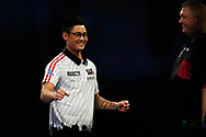 WINNER Rowby-John Rodriguez hits the double and celebrates beating Ricky Evans during the Darts World Championship 2018 at Alexandra Palace, London, United Kingdom on 18 December 2018.