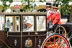 © Licensed to London News Pictures. 08/06/2019. London, UK. Elizabeth II, Her Majesty the Queen on her way to Buckingham Palace after the Trooping the Colour ceremony in Horse Guards Parade to marks her 93rd birthday, Britain's longest reigning monarch. Photo credit: Dinendra Haria/LNP